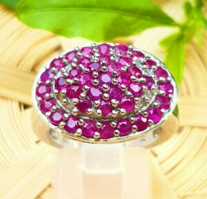 Genuine Natural 3ct Ruby Solid 925 Sterling Silver Ring Cocktail Dress Statement