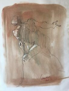 Harry Carmean drawing of standing male model 1994 pastel tones