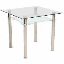 Dining Kitchen Table Small Clear Glass Square Top Under Shelf Chrome 85cm x 85cm