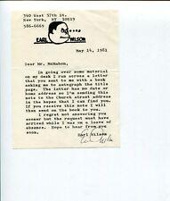 Earl Wilson Broadway Author Copacabana Beach Blanket Bingo Signed Autograph Note
