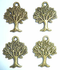 4 x TREE OF LIFE  SPIRITUAL CHARM 20mm x 17mm APPROX DEEP BRONZE  COLOUR