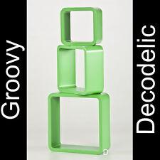 Wandregal Hängeregal Retro Cube Lounge 70er Bücherregal Kult Groovy grün #43GG-1