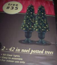 2 Pre-lit Christmas Noel trees in urns,42 in,w/50 lights,indoor decoration