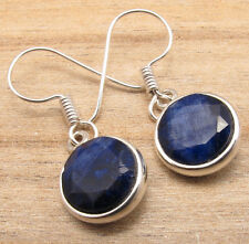 Gemstone Girls' Unseen Earrings 925 Silver Plated Simulated Sapphire
