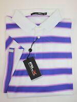 NWT $89 RALPH LAUREN Size XL Men's S/S White Blue Striped RLX WICKING Polo Shirt