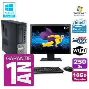 "PC Dell 790 DT Intel G630 16Go Disque 250Go Graveur Wifi W7 Ecran 19"""