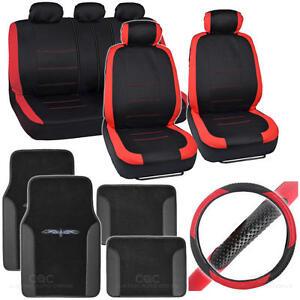 Full Interior Set Car Seat Cover, Mat & Steering Wheel Cover - Red / Black