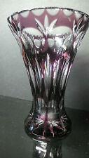 Kristall Vase Kristall Schöner Schliff-Stern Klar / Lila Überfang - Lila Vintage