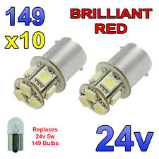 10 x Red 24v LED BA15s 149 R5W 8 SMD Number Plate Interior Bulbs HGV Truck