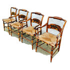 Antique Early L. Hitchcock Armchair Fruit Basket Dining Side Chair Set 4