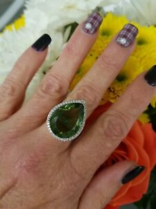 16ctw Natural Green Amethyst Pear Halo Ring, Sterling silver, Size 7