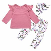 3PCS Set Newborn Baby Kids Girl Romper Shirt Tops+Floral Pants Outfits Clothes