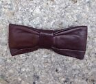 Mens Leather Bow Tie. VINTAGE. Beige. V Good Condition ~Ormond NYC