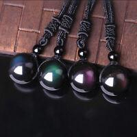 18mm Black Obsidian Rainbow Eye Beads Pendant Necklace Unisex Fashion Jewelry