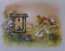 Wishing Well by Andres Orpinas Geese Country Barn Flowers Bucket Art Print 16x20