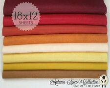 "Autumn Spice Felt Collection, Merino Wool Blend Felt, Eight 12"" X 18"" Sheets"