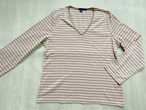BODEN  striped cotton long sleeve top size XL  fit size 20  NEW