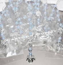 12 PC ROSARY BRACELET ANGEL CHARM BAUTIZO BAPTISM COMMUNION QUINCE FAVORS BLUE