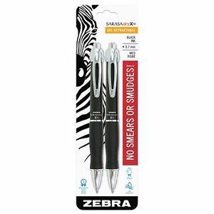 X10 Retractable Gel Pen Medium Point 0.7mm Black Ink and Barrel Acid Free 2 pcs