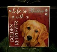 ~Golden Retriever Wood Dog Sign Wall Plaque Life is Better ....Pet Plaque NEW