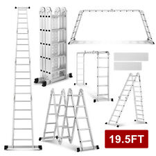 19.5FT Multi Purpose Extension Folding Aluminum Ladder Step Multi Function Tool