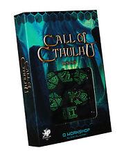 THE ORIGINAL CALL OF CTHULHU DICE SET-GREEN / BLACK-Q-Workshop-Chaosium-neu-new