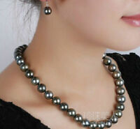 GORGEOUS 9-8MM AAA+ NATURAL BLACK Tahitian PEARL NECKLACE 14K WHITE GOLD 18""