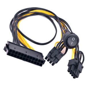 ATX 24 Pin to 2 Port PCIe 6+2 Pin 8 Pin 6Pin Power supply Cable + On Off Switch