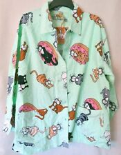 NWT ladies PJ Salvage flannel pajama top, S M L XL green polka dots cats