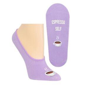 Espresso Self on Purple Women's No Shows Socks - Sock Size: 9-11