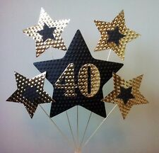 40th BIRTHDAY or ANNIVERSARY CAKE TOPPER. STARS, Gold and Black.