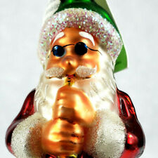 Christopher Radko Ornament Merry Measure 1997 2400 Cool Santa Blowing Horn Rare