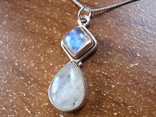 Moonstone Pendant Sterling Silver Square Teardrop Corona Sun Jewelry #57bk