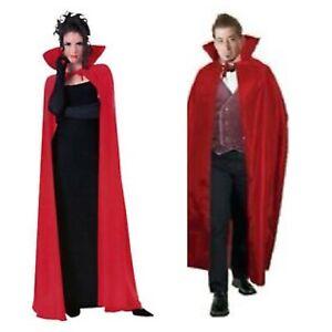 Mens Ladies Red Devil Vampire Demon Long Cape Halloween Fancy Dress New  56IN