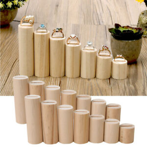 14Pcs Natural Wood Ring Jewelry Display Rack Organizer Stand Holder Showcase