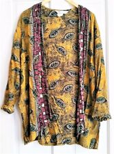 Vintage Open Cardigan Ethnic Print Super Soft Rayon Paper Thin Made in Usa 90s