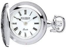 Sterling Silver Classic Pendant Watch Ornate Hunter - Roman Numerals - Quartz