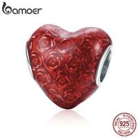 BAMOER .925 Sterling silver Charm Enamel The rose's heart For Bracelet Jewelry