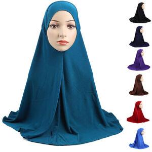 One Piece Muslim Womens Amira Hijab Islamic Prayer Headscarf Arab Overhead Drap