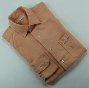 Alex Cannon Men's Button-up Long Sleeve Shirt Peach Color Soft Sz Large L