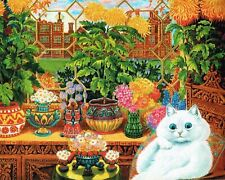 White persian cat sitting amongst the flowers Louis Wain art print 8 x 10