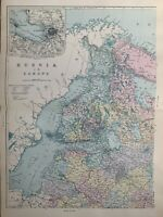 1891 Estonia Latvia Finland St Petersburg Russia Hand Coloured Map by G.W. Bacon