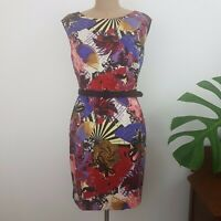Max Shop.com Sheath Dress SZ 12 Red Purple Fan Print Belt Fully Lined Designer