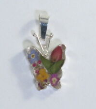 925 sterling silver small butterfly pendant with real flowers