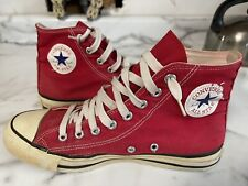 Vintage 1980's Red Converse All Star Chuck Tayler shoes Sz.8 Made in U.S.A.
