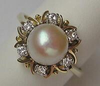 Ring mit Perle und Brillanten Diamanten 0,16 ct. in aus 14 Kt. 585 Gold Gr. 53