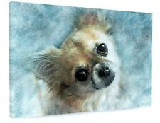 ABSTRACT CUTE CHIHUAHUA DOG CANVAS PICTURE PRINT CHUNKY FRAME LARGE #3420