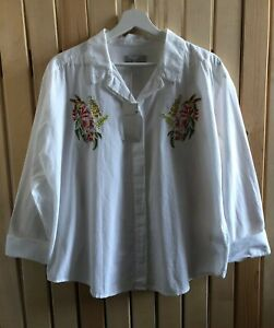 BNWT ladies PER UNA M&S white hummingbird floral embroidered blouse size 16 boho