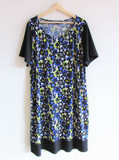Basque Woman Size 18 Daisy Floral Stretch Jersey Short Sleeve Shift Dress