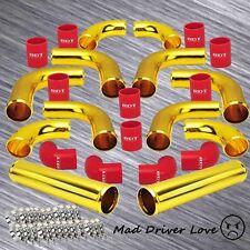 "GOLD 2.5"" UNIVERSAL ALUMINUM TURBO INTERCOOLER PIPE PIPING KIT RED COUPLER DIY"
